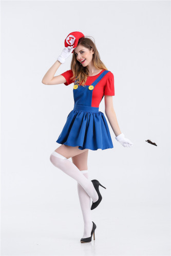 Classic Mario and Luigi Costume Womens Dress Costume With Hat and Gloves Halloween Festival Cosplay Outfit