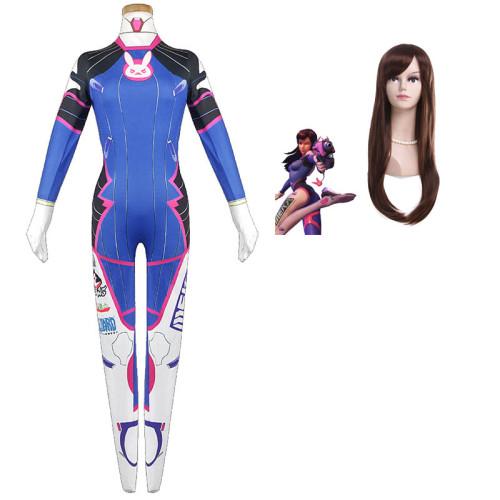 [Kids/Adults] Overwatch DVA Cosplay Costume Jumpsuit With Wigs Spandex Zentai D.Va Halloween Costume Full Set