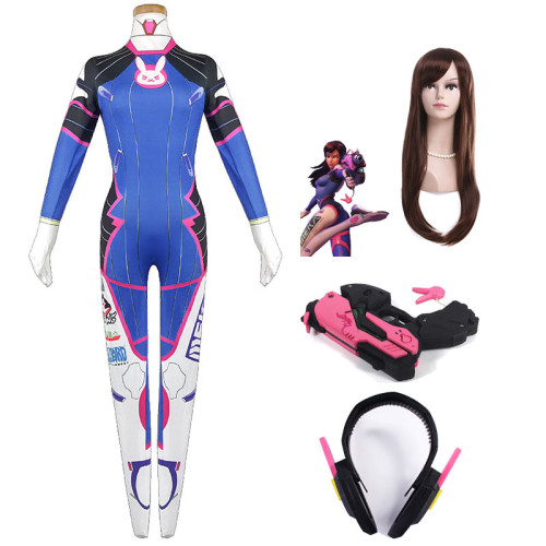 [Kids/Adults] Overwatch DVA Cosplay Costume Full Set Cosplay Costume Zentai With Wigs and Props