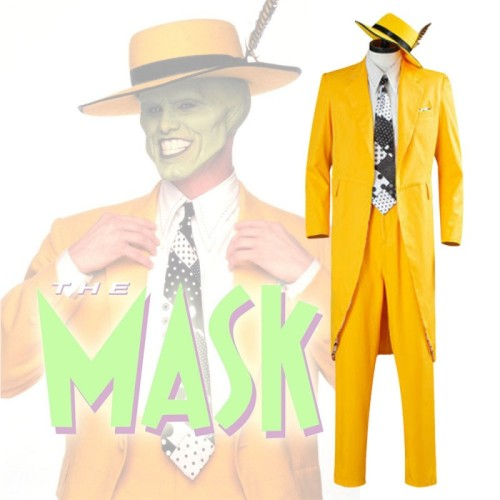 Movie The Mask Jim Carrey Costume Suit Yellow Suit With Hat Costume Halloween Costume
