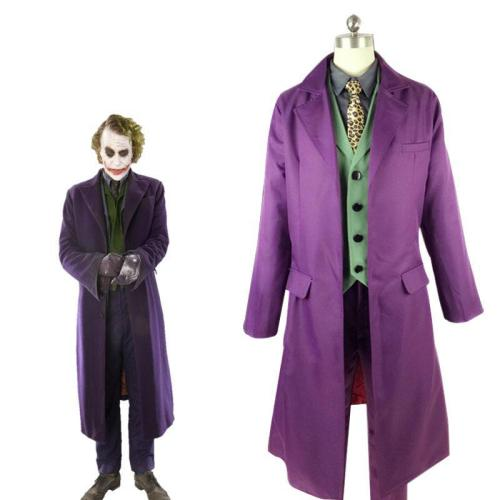 Batman The Dark Knight Cosplay Heath Ledger Joker Cosplay Costume Full Set Suit With Cloak and Mask