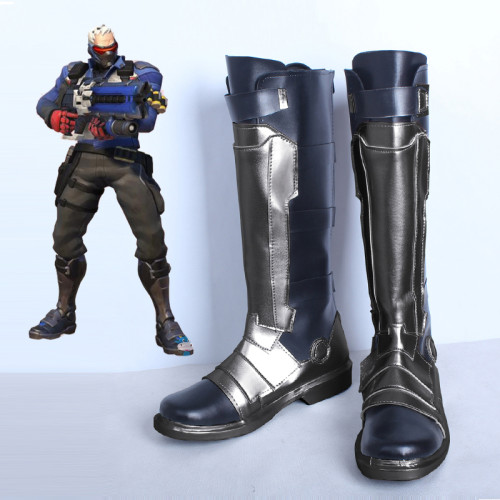 Overwatch OW Soldier 76 Cosplay Boots PU Leather Cosplay Shoes