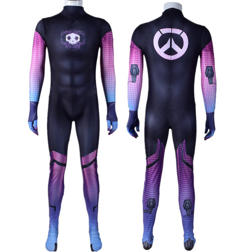 [Kids/Adults] OW Overwatch Sombra Zentai Costume Jumpsuit Halloween Cosplay Outfit