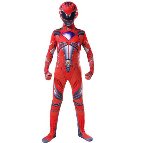 Mighty Morphin Power Rangers Kids Cosplay Zentai Costume Girls Boys Halloween Cosplay Jumpsuit