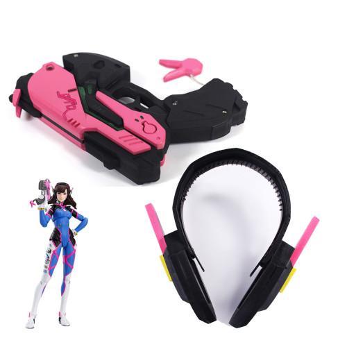 Overwatch DVA Cosplay Props Headphone and Toy Pistol Set