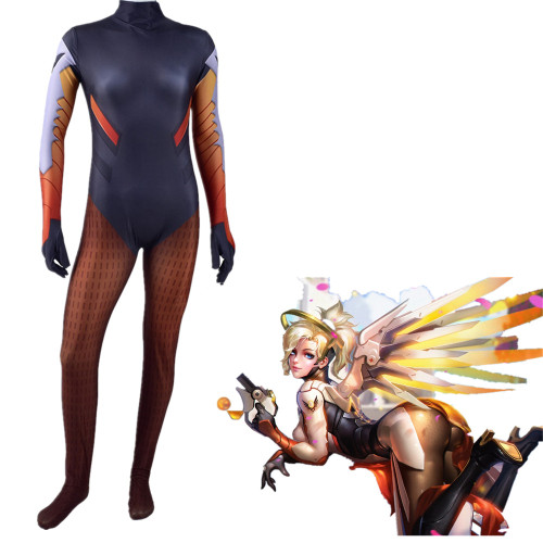 [Kids/Adults] OW Overwatch Mercy Zentai Costume Halloween Cosplay Jumpsuit Outfit