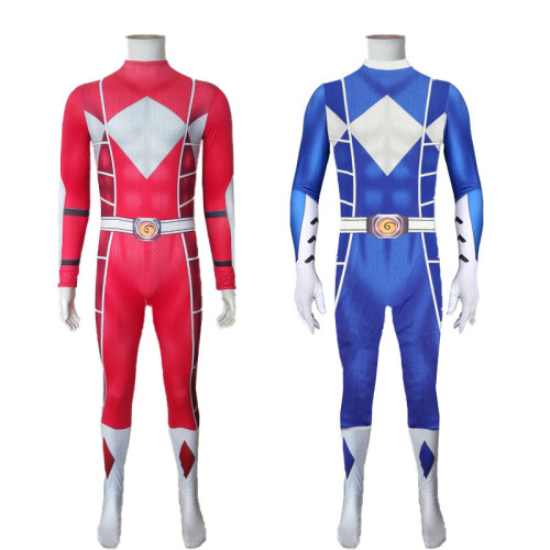 [Kids/Adults]Mighty Morphin Power Rangers Cosplay Costume Jumpsuit Halloween Festival Costume