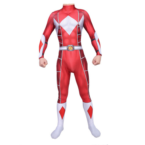 [Kids/Adults] Mighty Morphin Power Rangers Cosplay Zentai Costume Halloween Festival Jumpsuit Outfit