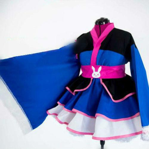 Overwatch DVA Cosplay Dress Hana Song D.Va Blue Lolita Cosplay Dress For Girls Women