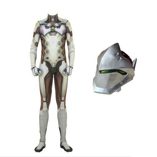 [Kids/Adults] Overwatch OW Genji Cosplay Costume Jumpsuit Full Set With Mask Halloween Genji Cosplay Zentai