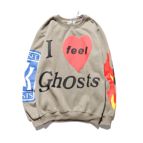 Kanye West I Feel Ghost Shirt Round Neck Long Sleeve Sweatshirt Hip Hop Casual Pullovers