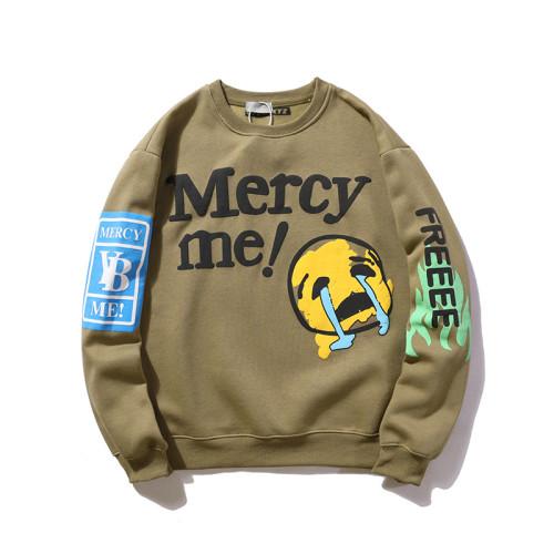 Kanye West Sweatshirt Mercy Me Sad Face Print Shirt Long Sleeve Loose Streetwear Pullover Tops