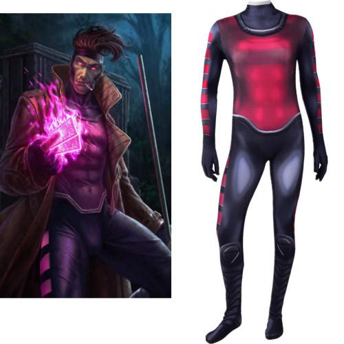 [Kids/Adults]X Men Gambit Zentai Costume Halloween Cosplay Costume Jumpsuit