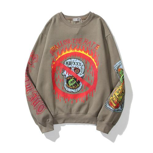 Kanye West Skull Print Shirt Unisex Loose Long Sleeve Sweatshirt Swallon the hat Graphic Street Style Pullovers