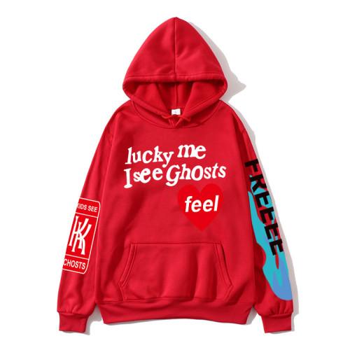Kanye West Lucky Me I see Ghost Hoodie Long Sleeve Casual Sweatshirt For Men Women