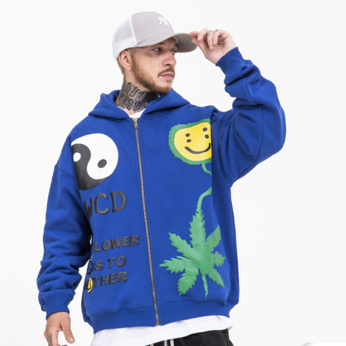 Kanye West Smile Face Print Zipper Jacket Winter Fall Trendy Streetwear Hooded Coat