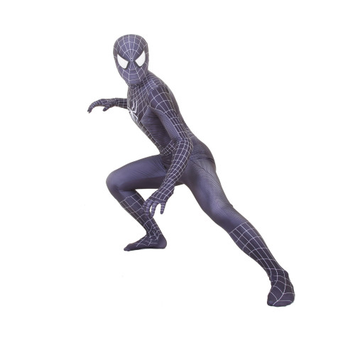 [Kids/Adults] Raimi Spider Man Cosplay Black Suit Zentai Costume Halloween Party Jumpsuit Outfit
