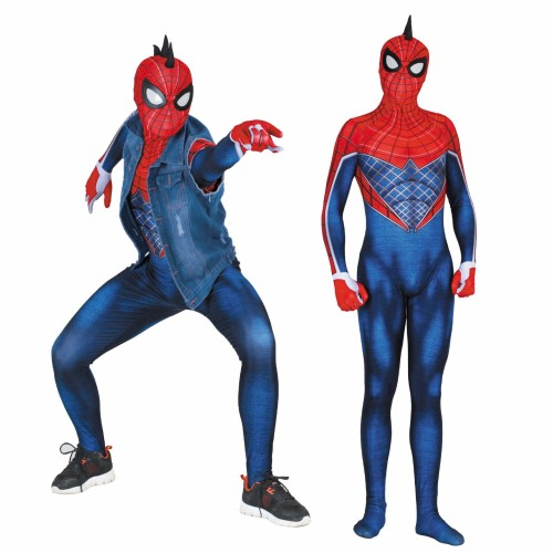 [Kids/Adults] Spider-Punk Suit Costume Spider Man Costume Zentai Suit Cosplay Jumpsuit Outfit