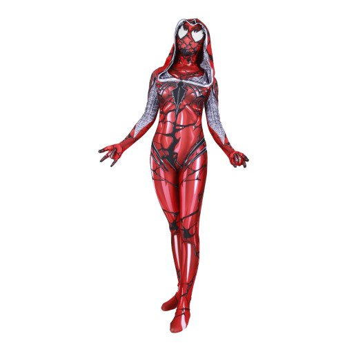 [Kids/Adults] Spider Gwen Costume Symbiote Venom Red Zentai Costume