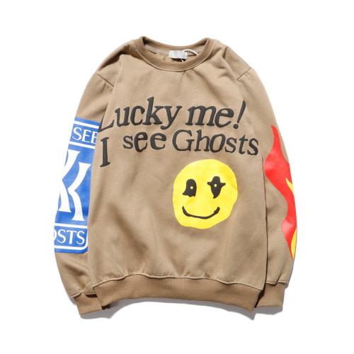 Kanye West Lucky Me I see Ghost Roundneck Sweatshirt Casaul Unisex Pullover Streetwear Tops