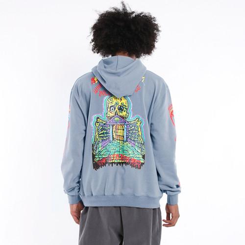 Kanye West Skull Print Cool Hoodie Casual Streewear Hooded Sweatshirt It's A Lonely Place Graphic Hoodie
