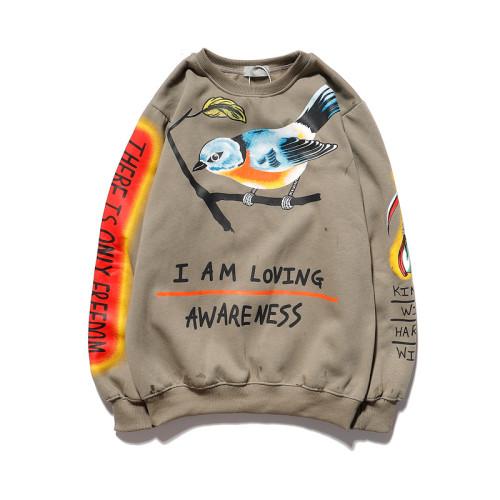 Kanye West Bird Print Hoodie Long Sleeve Round Neck Loose Unisex Sweatshrit Hip Hop Streetwear