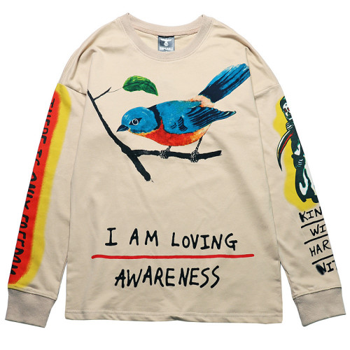 Kanye West Sweatshirt Long Sleeve Pullover Shirts With Bird Print Roundneck Casual Long Sleeve T-shirt