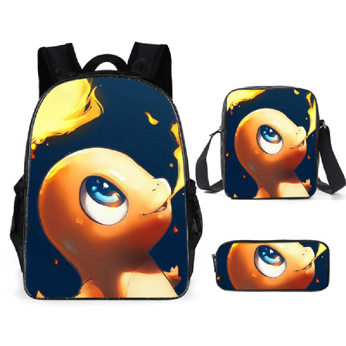 Pokemon Backpack 3 Pieces Set School Backpack With Lunch Box Bag and Pencil Bag