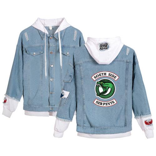 Riverdale Southside Serpent Print Denim Jacket Unisex Fake Two Piece Jeans Jacket Coat Hooded