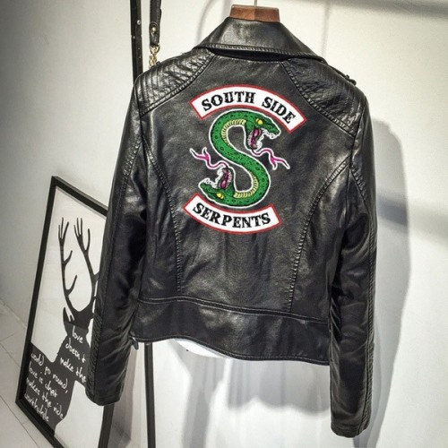 Riverdale Southside Serpent Print PU Leather Jacket Trendy Streetwear Outfit Tops