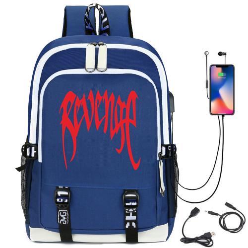 XXXtentacion Revenge Print Backpack With USB Charging Port School Backpack Computer Backpack