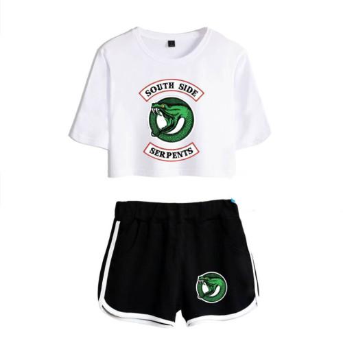 Riverdale Southside Serpent Crop Top Shirt and Shorts 2pcs Set Girls Women Trendy Suit