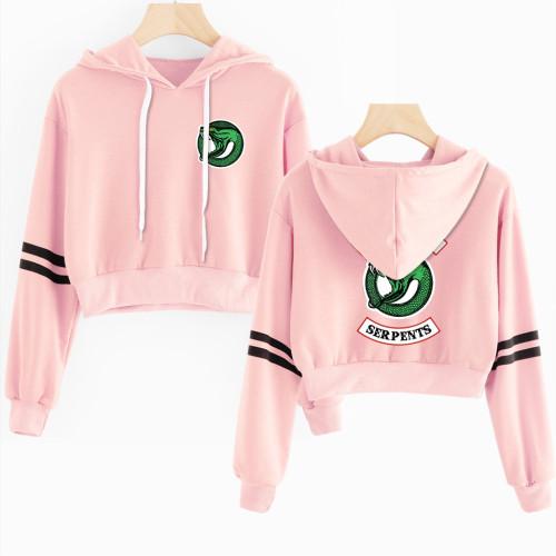 Riverdale Girls Crop Top Hoodies Long Sleeve Trendy Southside Serpent Pullover Hoodie Streetwear For Women