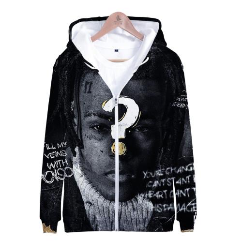XXXtentacion 3-D Jacket Unisex Zip Up Hooded Jacket Coat Fall Winter Street Style Coat