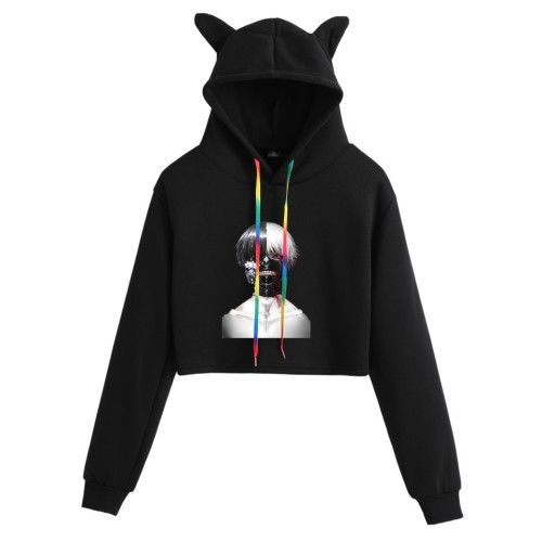 Tokyo Ghoul Hoodie Anime Merch Casual Girls Crop Top Hoodie Streetwear