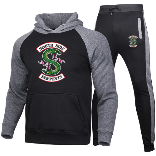 Riverdale Southside Serpent Print Unisex Sweatsuit Set Trendy Casual Hoodie and Jogger Pants Set