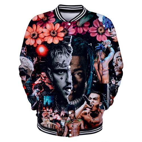 XXXtentacion Flower Print Baseball Jacket Unisex Youth Adults Trendy Hip Hop Jacket Coat