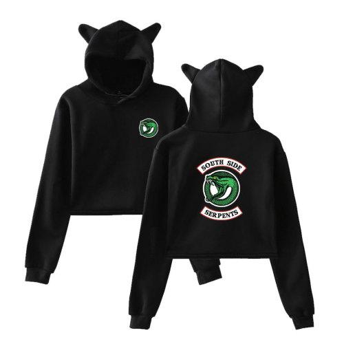 Riverdale Southside Serpent Print Girls Popular Crop Top Shirt Cat Ear Hooded Pullovers