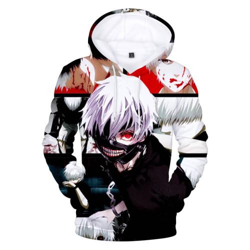 Tokyo Ghoul Ken Kaneki Print Hoodie Casual Long Sleeve Hooded Unisex Sweatshirt