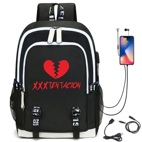 XXXtentacion Broken Heart Print Backpack Students Backpack With USB Charging Port