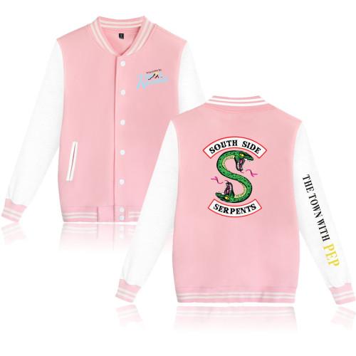 Riverdale Southside Serpent Print Baseball Jacket Girls Boys Trendy Fall Winter Coat