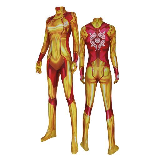 [Kids/Adults]Metroid Samus Aran Zero Zentai Costume Yellow Version Cosplay Jumpsuit