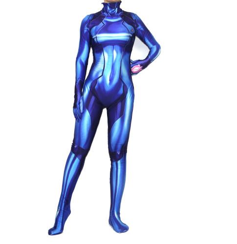 [Kids/Adults]Metroid Samus Aran Zero Blue Zentai Costume Halloween Cosplay Outfit Jumpsuit