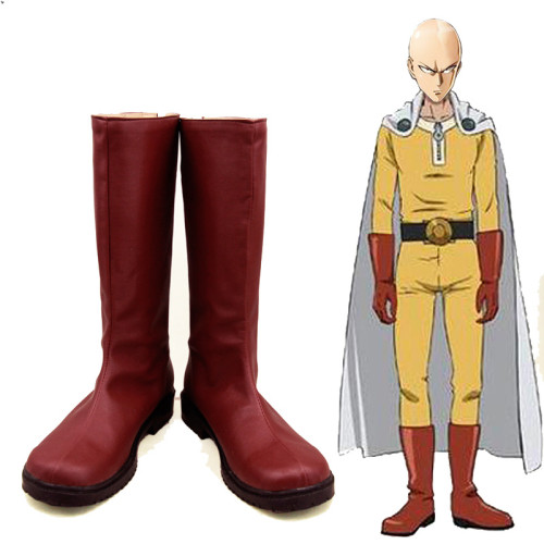 Anime One Punch Man Saitama Cosplay Boots Red Halloween Cosplay Accessories Boots