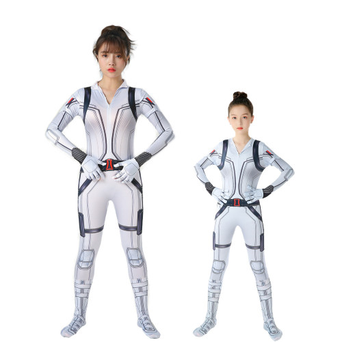 [Kids/Adults]Black Widow White Zentai Costume Halloween Jumpsuit Costume Outfit