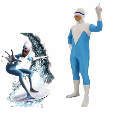 [Kids/Adults]Incredibles Frozone Lucius Best Jumpsuit Costume Halloween Zentai Costume
