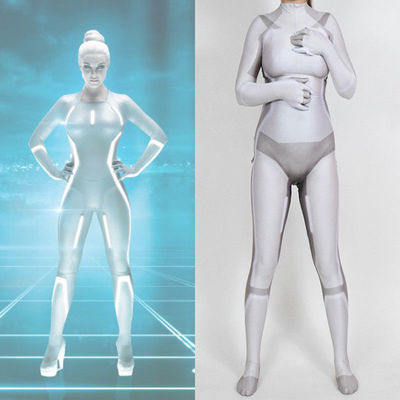 [Kids/Adults] Tron Cosplay Zentai White Version Jumpsuit Costume Halloween Party Outfit