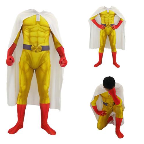 [Kids/Adults] Anime One Punch Man Saitama Costume Zentai Halloween Spandex Jumpsuit Costume