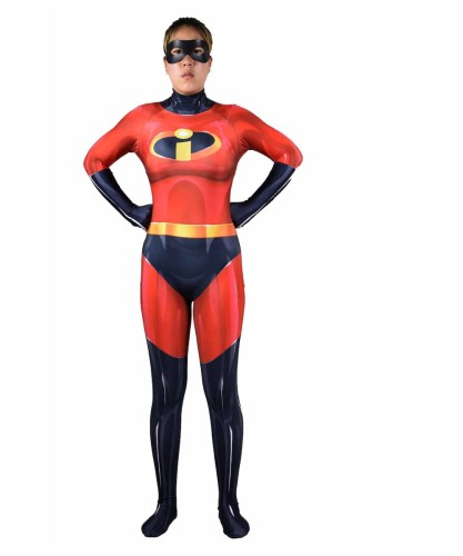 [Kids/Adults]Incredibles Mrs. Incredible Elastigirl Zentai Costume Halloween Jumpsuit Costume Outfit
