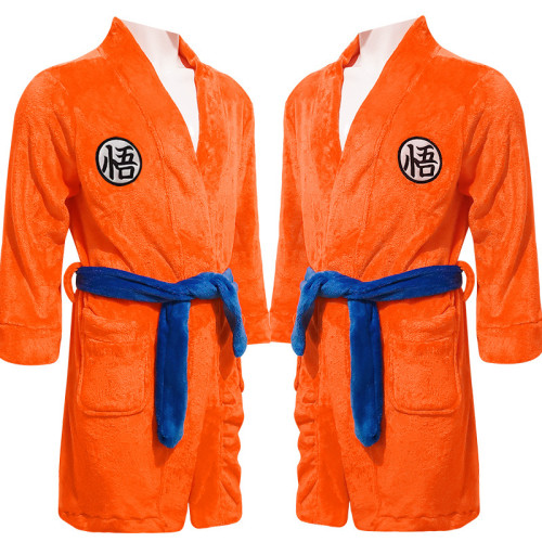 [Kids/Adults]Anime Dragon Ball Son Goku Bathrobe Orange Robe Pajamas Costume